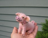 Handmade Needle Felted Animal of your choice / Poseable / Cute example piglet sculpture Rosie
