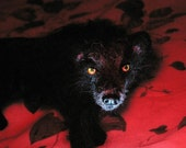 Handmade Animal Sculpture by Fiber Artist Gerry / poseable / example Black Wolf
