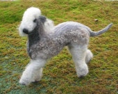 The Perfect Gift / Custom Pet Portrait direct from Artist / Gourmet Felted Original OOAK /example Bedlington Terrier