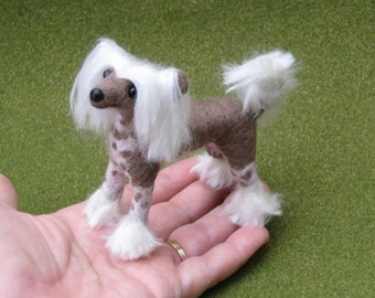 Pet Portrait / Needle Felted Dog / Chinese Crested featured in TEDDY BEAR REVIEW-Lifelike Poseable small size