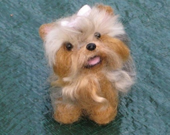 Needle Felted Yorkie / Custom Miniature Sculpture of your pet / Cute / poseable by Fiber Artist GERRY