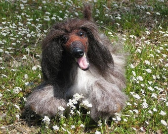 Sculpture from your photo / Needle Felted Dog / Custom Miniature of your pet / example Afghan Hound
