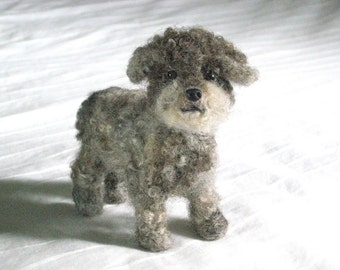 Felted Miniature of your Pet / Custom Pet Portrait Handmade / poseable Dog / example Miniature Poodle / Art Doll Miniature Pet Lover Gfit
