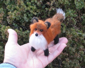 Needle Felted Animal / Fox Sculpture OOAK by Teddy Bear Review Artist GERRY Lifelike Poseable / Gift Idea