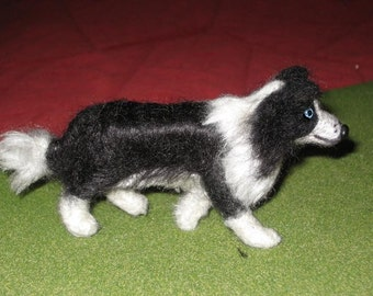 Gourmet Felted  Custom Miniature Sculpture of your pet / Cute/ Poseable /example Border Collie