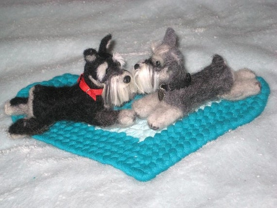 Wedding Cake Topper / Needle Felted Dogs / Your pets on Your Wedding Cake / Anniversary Gift / example Miniature Schnauzer