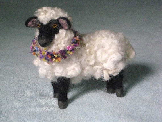 Handmade Needle Felted Animal / Sheep /  Poseable / Clover