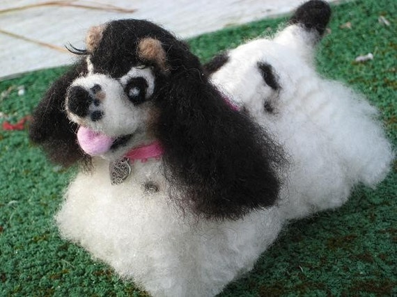 Needle Felted Dog / Custom Miniature Sculpture of your pet Cute animated Toy Style