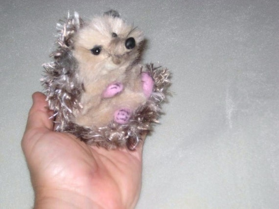 Gourmet Felted /Needle Felted Animal /  Hedgehog Sculpture by Fiber Artist GERRY