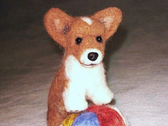 Needle Felted Dog / Custom Miniature Sculpture of your pet / Cute / poseable by Fiber Artist GERRY / ex Welsh Corgi puppy animated style