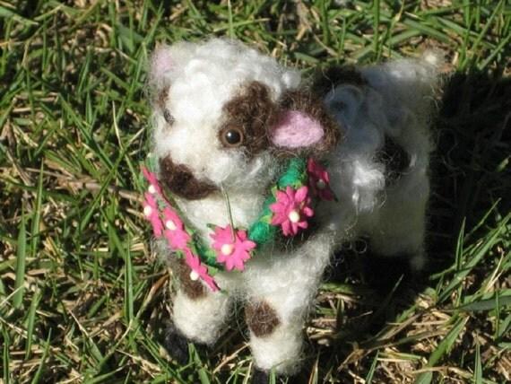 Needle Felting Kit / Felted Miniature Spotted Sheep Kit / Learn Poseable Needle Felting / DIY kit gift / bonus bell /by Gourmet Felted