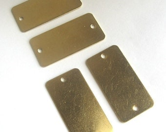 """Qty 5 - Large Thick brass stamping blank dog tags rectangle 1""""x2"""""""