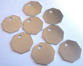 Octagon Aluminum blank tags 1-1/8 inch  ... 18 gauge - nice and thick QTY 10