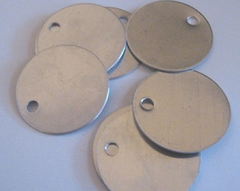 """50 large round blank metal stamping tag 1.5 inches  1 1/2"""" - aluminum"""