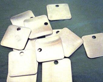 25 MEDIUM Square Aluminum Blank Tags 1 1/4  (1.25) inch - 18 gauge