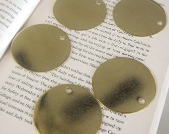 "2"" Inch  extra LARGE Round Brass Blank Tags 2 inch  - 18 gauge  QTY 5"