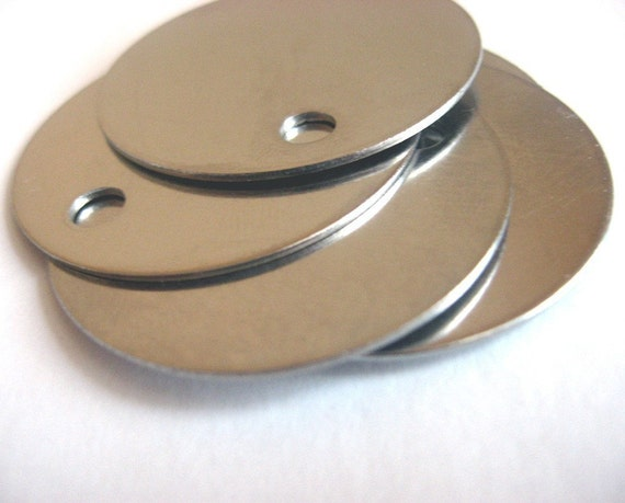 Blank metal engraving and stamping tag  - round qty 5 - large 1.5 inches Stainless Steel