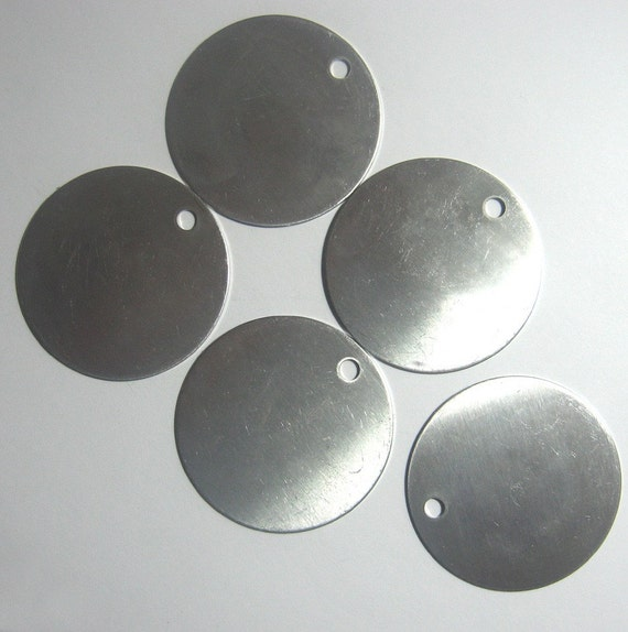 """5 extra LARGE Round Aluminum Blank Tags 2"""" inch  - 18 gauge"""
