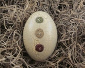 SPECIAL PRICE - Handpainted Primitive Wooden Egg with Crackle Background - Bowl Filler - Triple Button Design