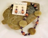 """SPECIAL PRICE - Beaded Necklace and Earring Set - Yellow Opal, Amathyst and Rosewood - 18"""""""