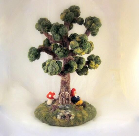 ... similar to Custom - Needle Felted Gnome Tree Scene Pre Order on Etsy