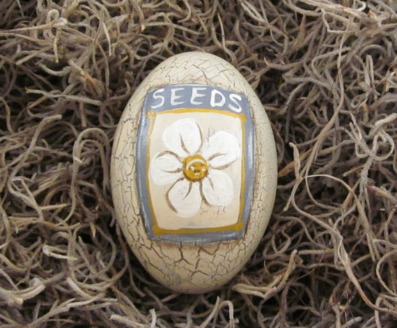 SPECIAL PRICE - Handpainted Primitive Wooden Egg with Crackle Background - Bowl Filler - Seed Packet Design