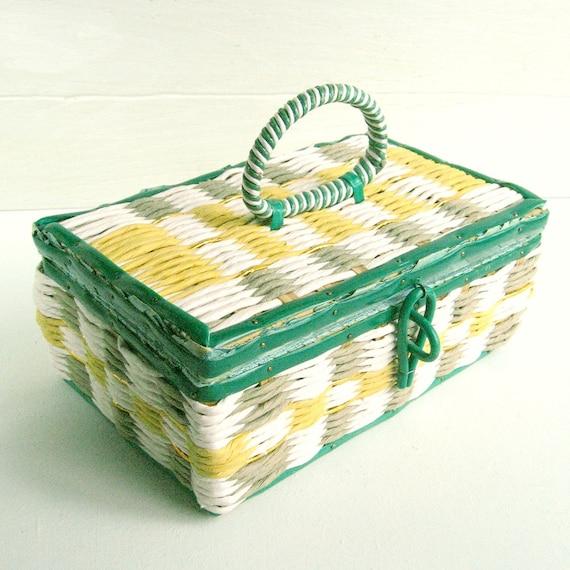 Sew Vintage ....... Green Yellow Gold White Sewing Basket Japan