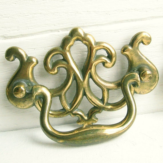 6 Brass Chippendale Style Drawer Pulls