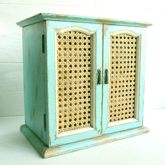 Handpainted Aqua Jewelry Chest.... Woven Cane Doors and 4 Drawers