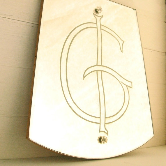 Etched Monogrammed Mirror ........ Letter G Reverse Etched Beveled Wall Mirror