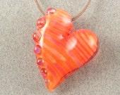1/2 PRICE SALE - Orange Fuchsia Love - Hollow blown heart pendant by Beau Barrett