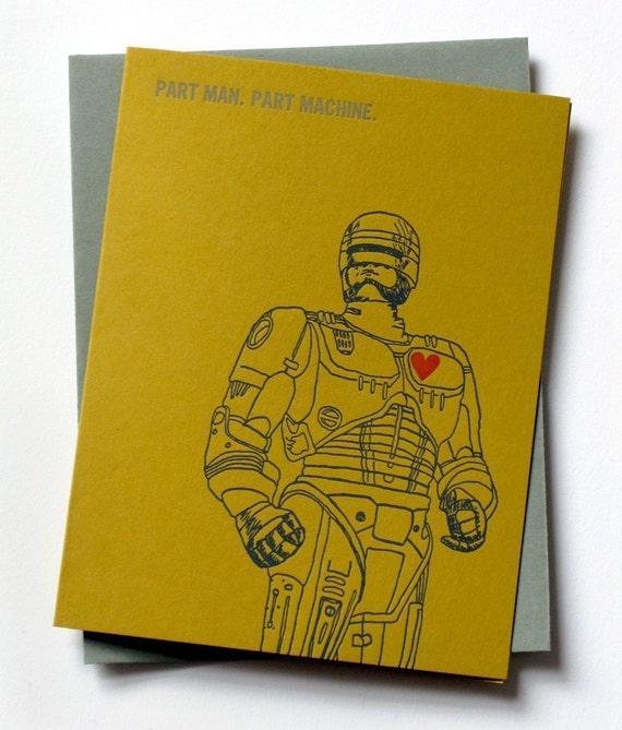 ROBOCOP VALENTINE Letterpress Card