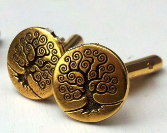 Golden World Tree cufflinks
