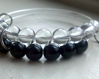 Lava & Ice abacus bracelet - crystal and black glass