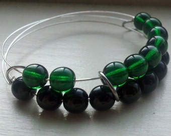 Green Witch abacus bracelet in green and black