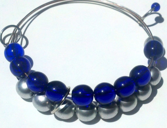 Cobalt blue and silver abacus bracelet row counter