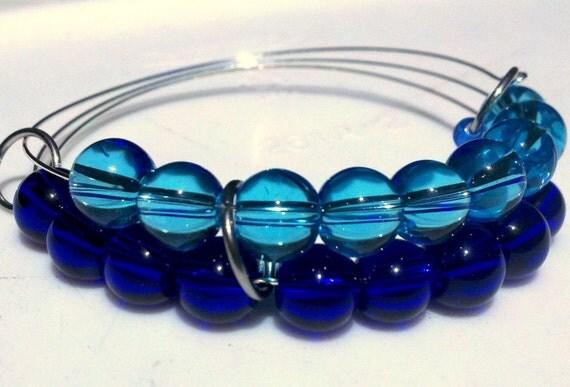 Tropical & cobalt blue abacus bracelet