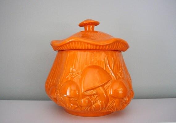 70s Bright Orange Mushroom Cookie Jar