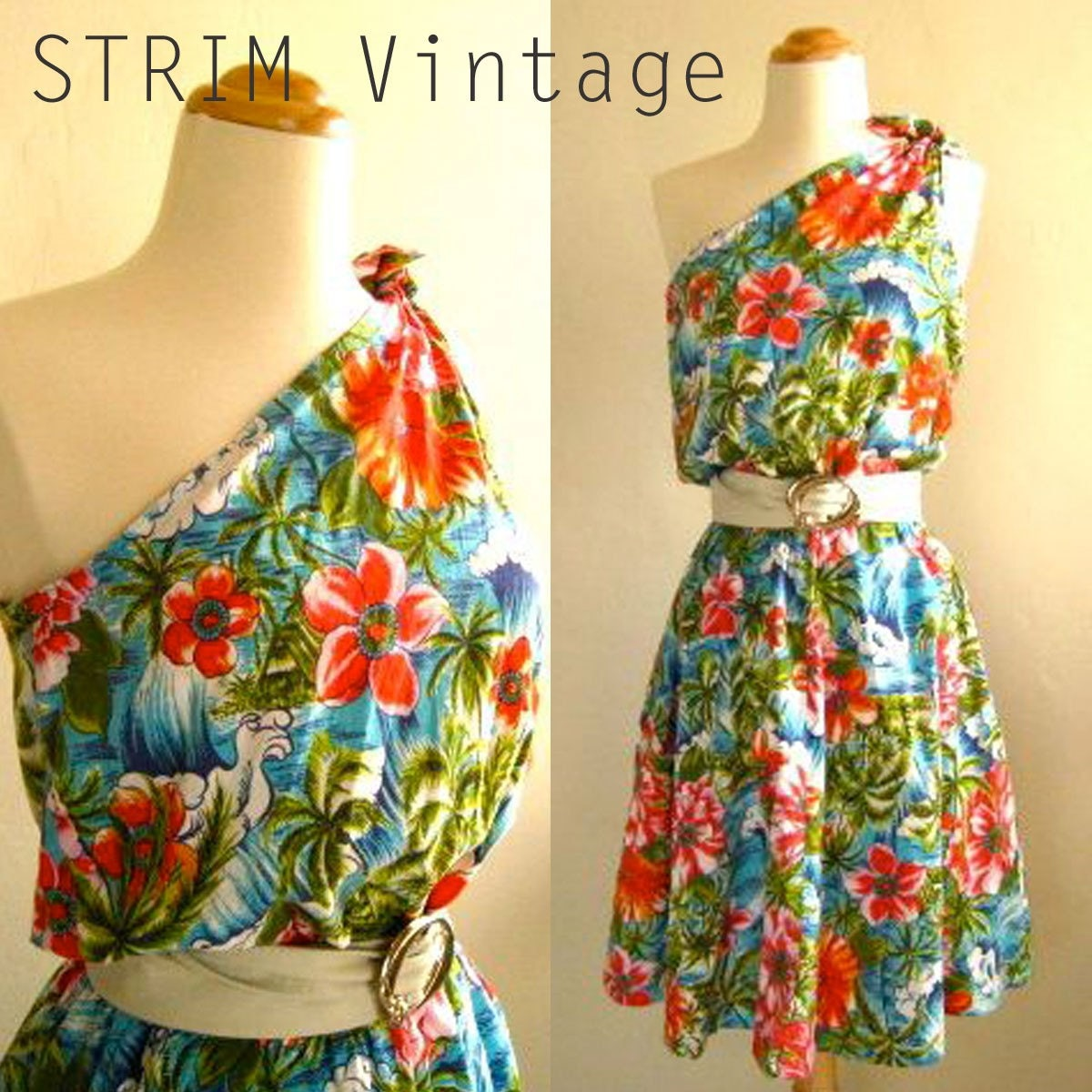 vintage hawaiian one shoulder party dress