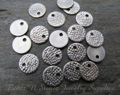 Hammered Look Coin Charm Drop, 7mm Antique Silver Brass- 25 PCS