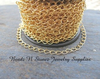 5 Feet Quality Bright Gold Plated Brass 4.2mm Curb Link Chain