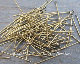 Antique Gold Brass 1 Inch Headpins, 22 Gauge - 100 PCS
