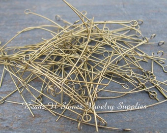 Antique Gold Brass 1.5 Inch Eyepins, THIN 24 Gauge - 100 PCS