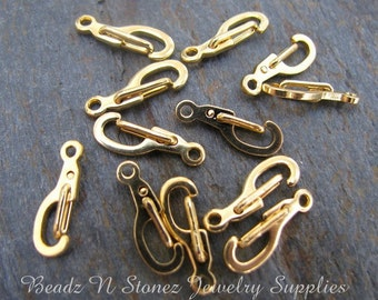 Gold Plated Brass Self Closing Clasp 11x5mm - 12 Clasp