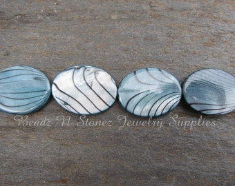 Turquoise Blue,  Black Stripe Mother Of Pearl 15x20mm Oval Beads - Half Strand  CLEARANCE