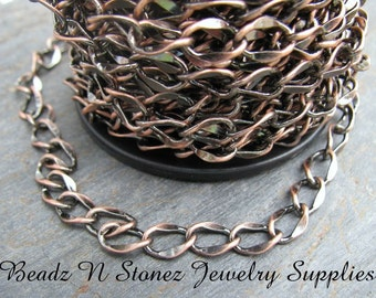 5 Feet Quality Antique Copper 6mm Hammered Curb Chain