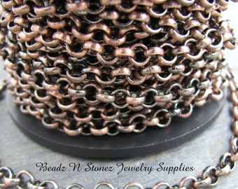 5 Feet Quality Antique Copper Plated Brass 4.5mm Rollo (Belcher) Chain