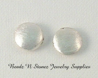 Brushed Silver Plated 14mm Copper Coin Beads - 2 PCS
