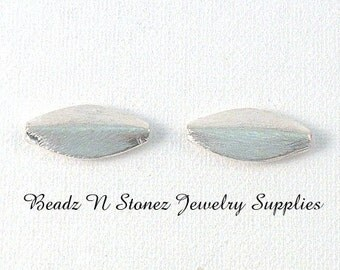 Brushed Silver Plated Copper 11x24mm Puffed Marquise Beads - 2 PCS