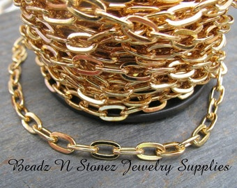 CLEARANCE - SPOOL Gold Plated Steel 4.8 x 8.5mm Flat Drawn Cable Chain
